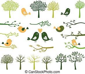 pássaros, árvores, ramos, silhuetas