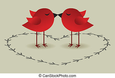 pássaros, amor, cartão