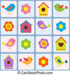 pássaros, birdhouses., padrão, seamless, vetorial, flores