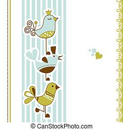 pássaros, chuva bebê