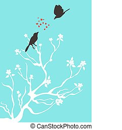 pássaros, conversa, amor