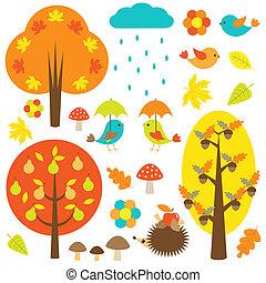 pássaros, e, árvores, em, outono