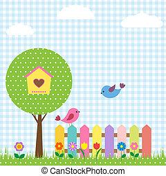 pássaros, e, birdhouse, ligado, árvore