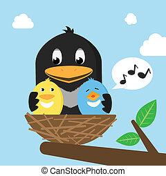 pássaros, em, a, ninho