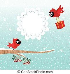 pássaros, em, inverno