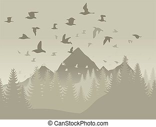 pássaros, em, montanhas