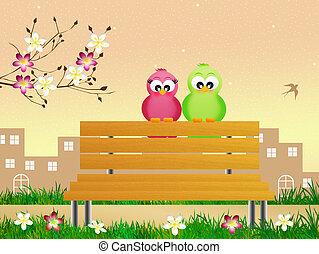 pássaros, em, primavera