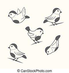 pássaros, em, vindima, estilo