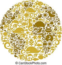 pássaros, feito, animais, esboço, ícones, globo, flores