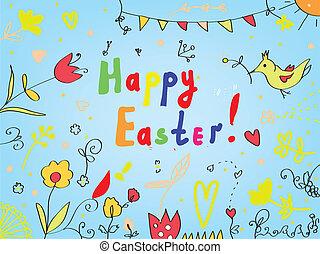 pássaros, fundo, saudação, flores, decorações, páscoa, cartão