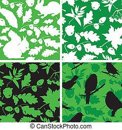 Pássaros, jogo, esquilo, silhuetas, folhas, uso,  seamless, padrões, Pronto,  Swatch