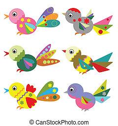 pássaros, jogo, vector.