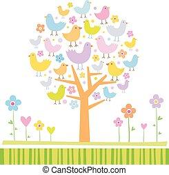 pássaros, ligado, um, árvore