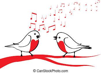 pássaros, ramo, árvore, cantando