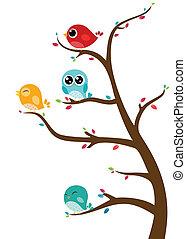 pássaros, sentando, ligado, ramos