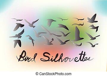 pássaros, silhuetas, vetorial, ícone