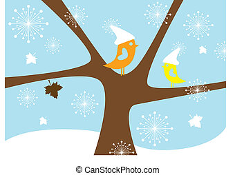 pássaros, vetorial, inverno