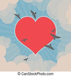 pássaros voando, ao redor, coração, em, a, céu