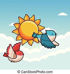 pássaros voando, caricatura