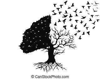 pássaros voando, de, a, árvore