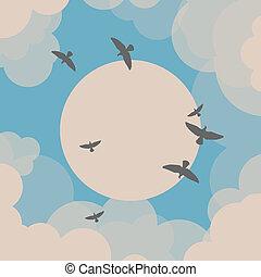 pássaros voando, frente, a, sol