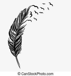pássaros voando, ot, de, um, pena