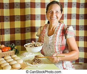 pástétom, nő, főzés, hús