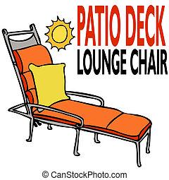 pátio, convés, cadeira lounge