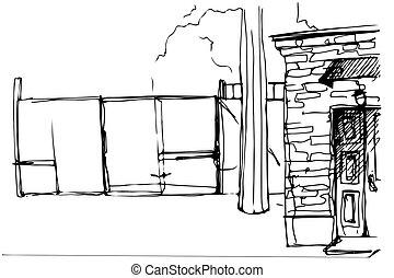 pátio, fachada, esboço, vetorial, portas