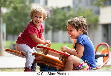 pátio recreio, divertimento, tendo, crianças
