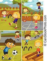 pátio recreio, jogo, atividade, crianças