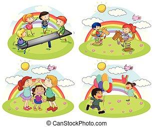 pátio recreio, jogo, tocando, crianças