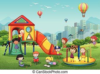 pátio recreio, parque cidade, tocando, crianças