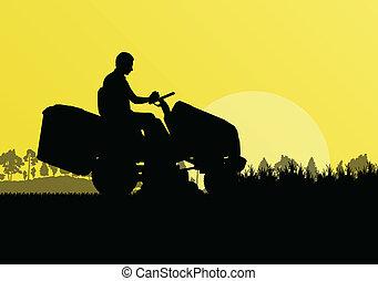 pázsit, elvont, ábra, kaszáló, mező, éles, vektor, traktor, ...