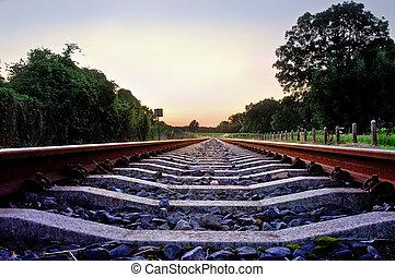 pâle, pastel, pistes, coucher soleil, ferroviaire