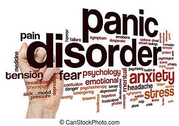pânico, palavra, desordem, nuvem