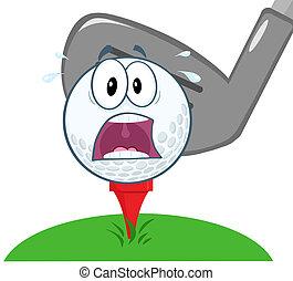 pânico, sobre, bola, baliza golfe