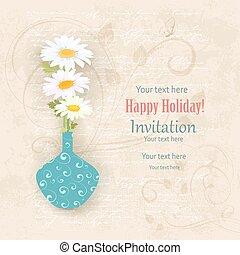 pâquerettes, invitation, vase, carte papier, vieux, vendange