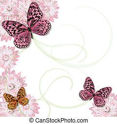 pâquerettes, papillons, invitation