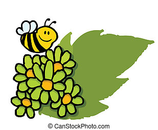 pâquerettes, sur, abeille, vert, voler