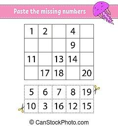 pâte, développer, kids., jeu, écriture, numbers., practice...