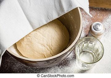 pâte, monter, laisser, stand, levure