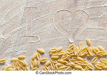 pâtes, amour