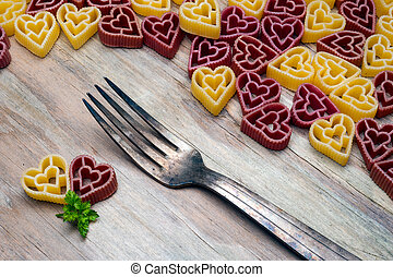 pâtes, coeur, fourchette, amour