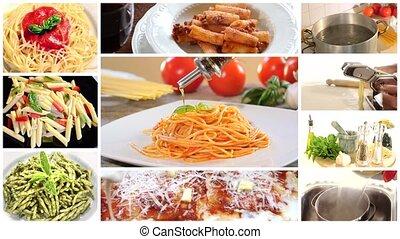 pâtes, collage, italien