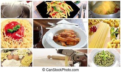 pâtes, collage, nourriture, italien