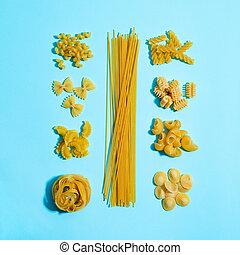 pâtes., différent, art, types, nourriture, knolling