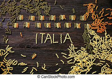 pâtes, drapeau, italien