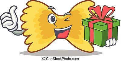 pâtes, farfalle, dessin animé, cadeau, mascotte
