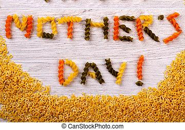pâtes, formé, text., jour, mère